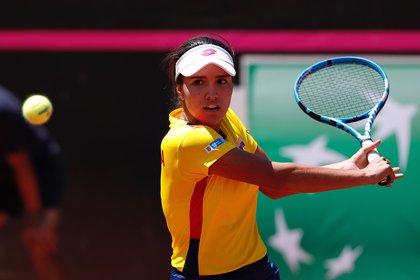 De ganar el último encuentro, la tenista colombiana de 19 años, María Camila Osorio, disputaría su primer Abierto de Australia. EFE/Alberto Valdés/Archivo