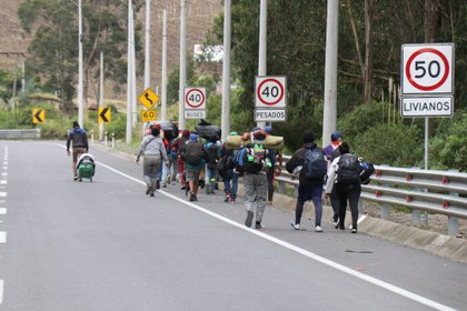 Vista de un grupo de migrantes venezolanos. EFE/Xavier Montalvo/Archivo