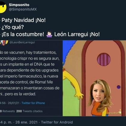 La gran mayoría de los memes compartidos por usuarios hacían referencia, con humor, a que las ideas de León Larregui y Paty Navidad son tan parecidas que incluso parece que la actriz fue la que realizó la publicación a través de la cuenta del cantante (Foto: Twitter)