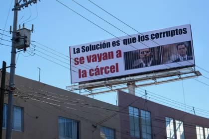 Anuncio en Zacatecas sobre la corrupción  (FOTO: MISAEL VALTIERRA / CUARTOSCURO)