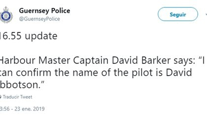 El posteo de la Policía que confirmó la identidad del piloto