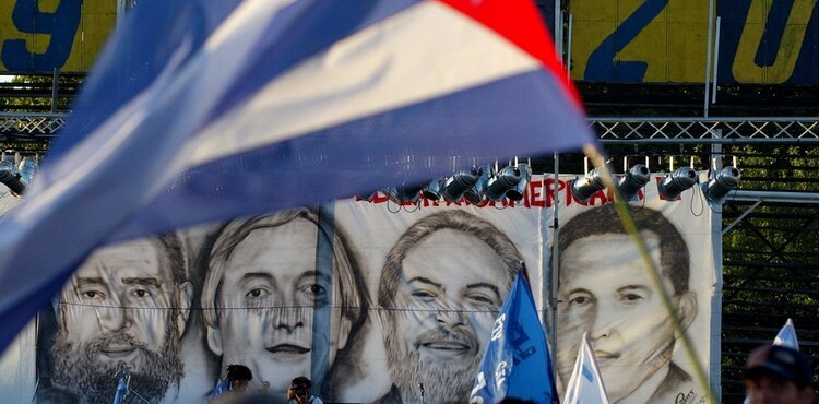 Los rostros de Fidel Castro, Néstor Kirchner, Lula da Silva y Hugo Chávez
