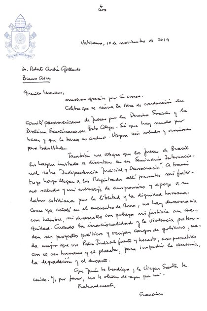 La carta del papa Francisco