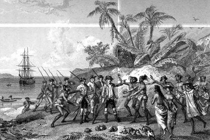 Un cuadro representando la llegada de Bougainville a Tahiti (Rouargue Frères)
