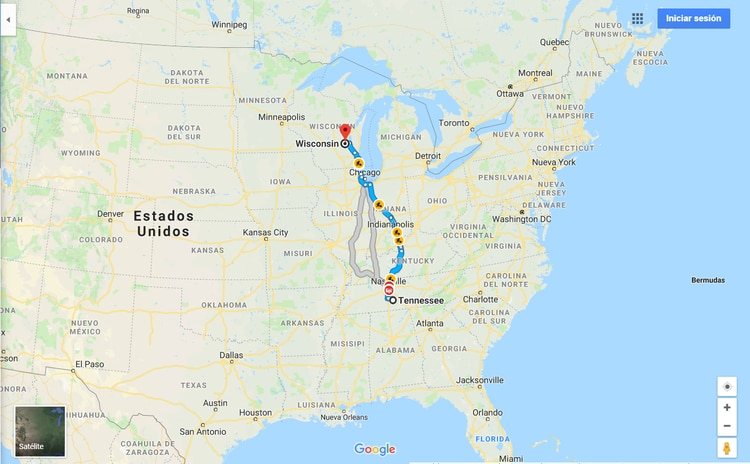 El celular de la joven apareció en Kentucky, a 50 kilómetros de su domicilio en Tennessee (Foto: Google Maps)
