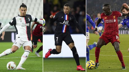 Cristiano Ronaldo (Juventus), Kylian Mbappe (PSG) y Sadio Mane (Liverpool)