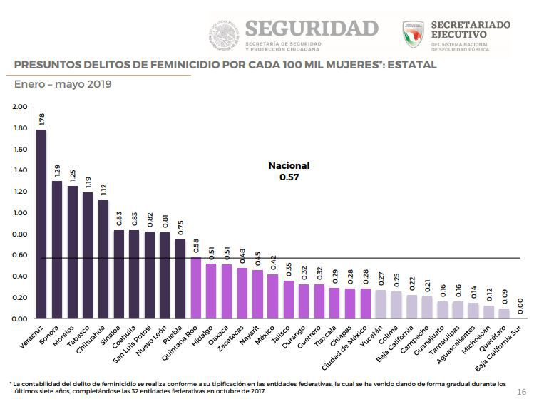 Media nacional de feminicidios. Informe sobre la Violencia contra las Mujeres Enero-mayo 2019 (Foto: captura de pantalla Informe SESNSP)