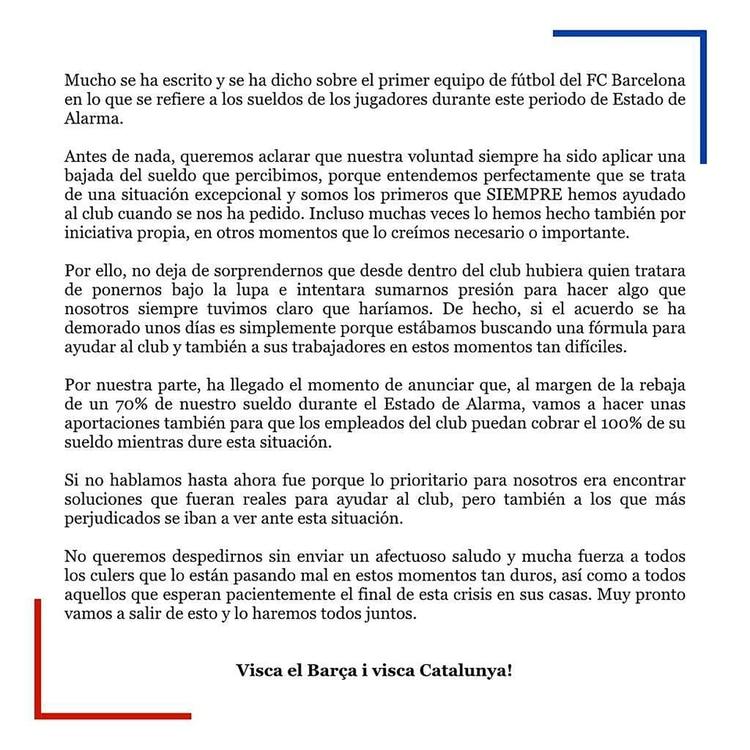 El comunicado de los jugadores del Barcelona