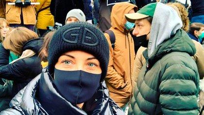 Yulia Navalnaya, la esposa del disidente, durante las manifestaciones del último fin de semana. @yulia_navalnaya)
