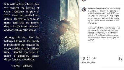 El mensaje que salió publicado desde la cuenta oficial de Instagram de Chris Trousdale