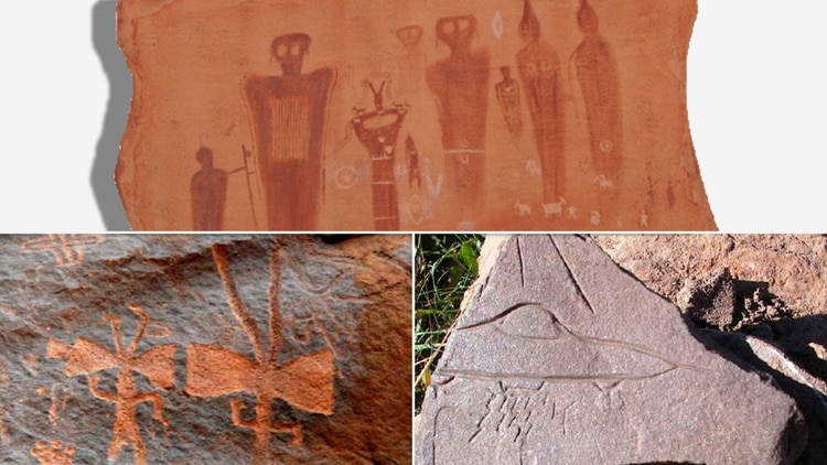 Arriba: un petroglifo de Utah. Abajo: seres antropomorfos encontrados en La Rioja, Argentina, y a su lado el 'platillo volador' del Fuerte de Samaipata