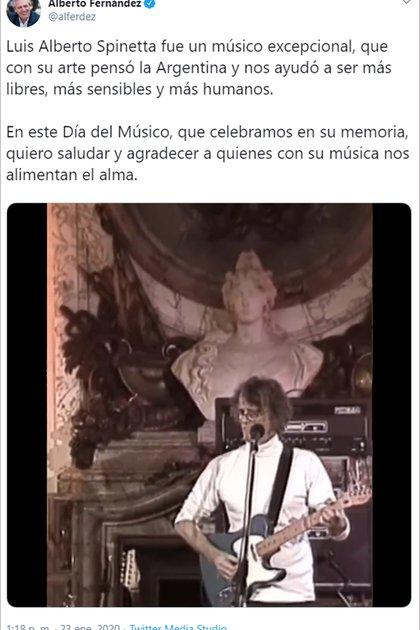 El mensaje en Twitter de Alberto Fernández, recordando a Luis Alberto Spinetta