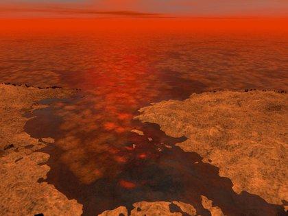 Concepción artística de cómo lucirían los lagos de metano de Titán - REUTERS/NASA/JPL-Caltech/USGS