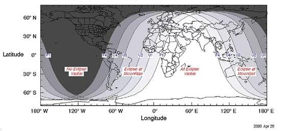 El mapa muestra en qué lugares del mundo se verá con más facilidad el eclipse del 27 de julio