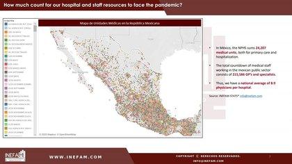 El INEFAM publicó un mapa de las unidades médicas en la República Mexicana (Foto: INEFAM )