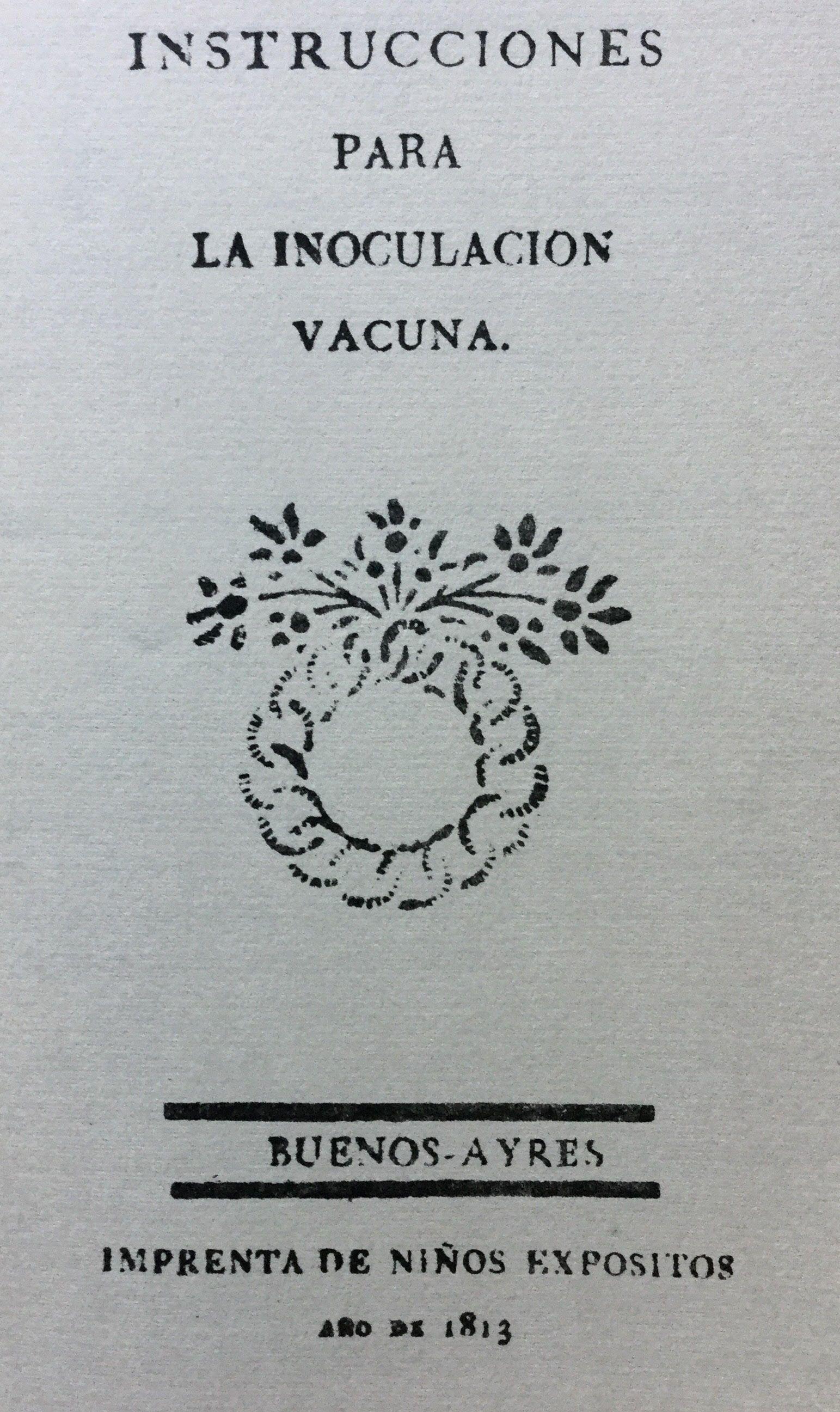 Las instrucciones para vacunar, de 1813.