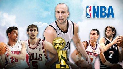 Manu Ginóbili, Carlos Delfino, Chapu Nocioni, Fabricio Oberto y Pablo Prigioni, algunos de los argentinos en la NBA