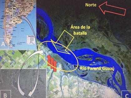 Imagen satelital del lugar donde tuvo lugar el combate (Gentileza Mariano Ramos)