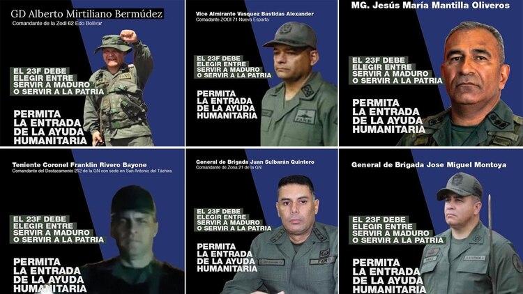 Algunos de los militares venezolanos a los que Guaidó les pidió por redes sociales que dejen pasar la ayuda humanitaria al país
