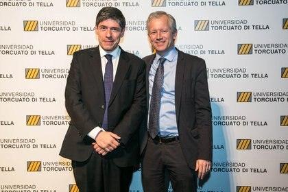 El senador Juan Manuel Abal Medina y el rector de la Di Tella, Schargrodsky