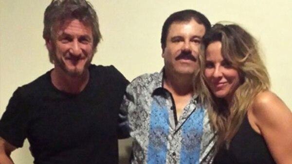 """La foto de """"El Chapo"""" Guzmán, en octubre de 2015, con Sean Penn y Kate del Castillo"""