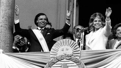 Carlos Menem y Zulema Yoma el día de la asunción presidencial