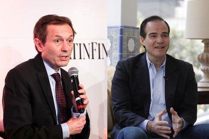 Combo de fotografías de archivo que muestran a Gustavo Béliz (i) durante un foro económico el 5 de marzo de 2020, en Montevideo (Uruguay); y a Mauricio Claver-Carone (d) durante una entrevista con Efe el 17 de enero de 2020, en Lima (Peru). EFE/Archivo
