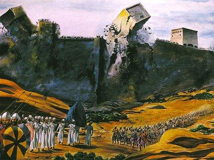 El séptimo día, al concluir la séptima vuelta, se derrumban las murallas de Jericó