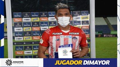Teófilo Gutiérrez fue elegido como el jugador Dimayor del partido tras la victoria 2-0 de Junior contra Jaguares en condición de visitante / (Twitter: @Dimayor).