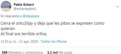 El Dipy cuestionó el lenguaje inclusivo y Pablo Echarri le respondió por Twitter