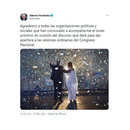 El mensaje del Presidente en su cuenta de Twitter