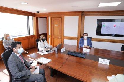 Margarita Cabello y Fernando Ruiz  durante la reunión para revelar el Plan de Vacunación Nacional del covid-19. Foto: Procuraduría General de la Nación.