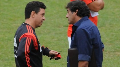 Marcelo Gallardo y Enzo Francescoli durante un entrenamiento de River (imagen de archivo)
