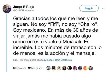 Rioja escribió un mensaje este sábado (Foto: Twitter @CoACHconsultor)