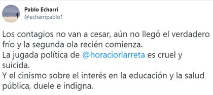 El tuit de Pablo Echarri