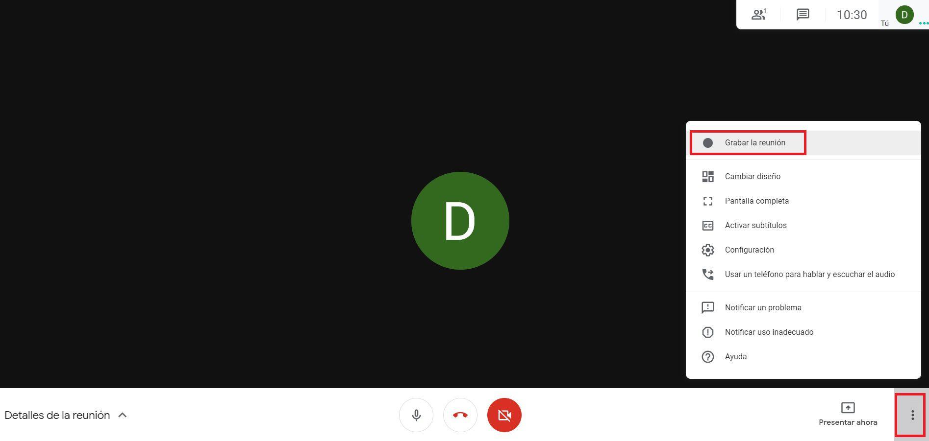 Cómo grabar en Google Meet