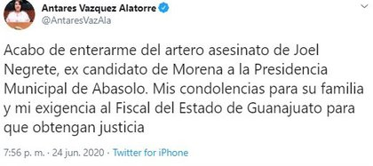 La senadora de Morena, Antares Vazquez, dio a conocer el crimen del ex candidato (Foto: Twitter@AntaresVazAla)