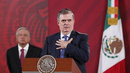 El secretario de Relaciones Exteriores, Marcelo Ebrard, habla durante una conferencia de prensa. EFE/ José Méndez/Archivo