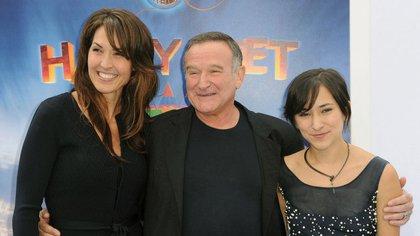 Susan Schneider, Robin Williams y la hija del actor, Zelma Williams (Crédito: AFP)