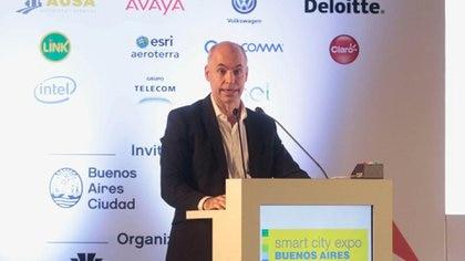 El jefe de Gobierno de la Ciudad de Buenos Aires, Horacio Rodríguez Larreta, al inaugurar la expo (GCBA)