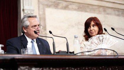 Alberto Fernández y Cristina Fernández durante la apertura de las sesiones ordinarias del Congreso