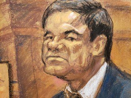 Guzmán retratado durante su juicio (Foto: REUTERS/Jane Rosenberg)