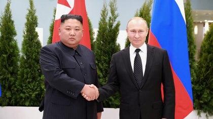 Kim Jong-un y Vladimir Putin, en su encuentro de abril de 2019 (Reuters)