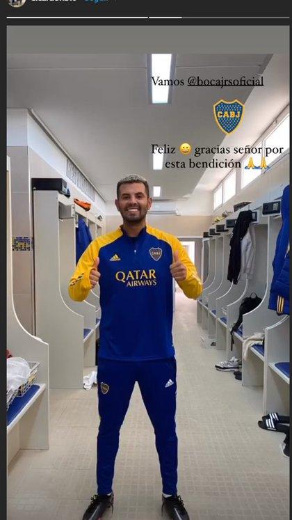 Cardona, feliz con la indumentaria de Boca (Instagram)