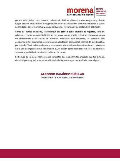 Segundo fragmento de la carta firmada por Ramírez Cuéllar (Foto: Twitter / @aramirezcuellar)