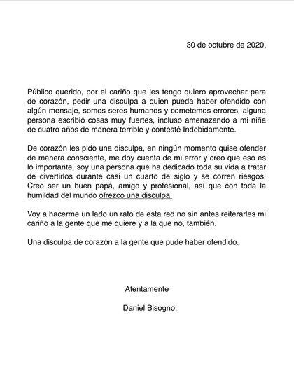 La disculpa fue publicada a través de Twitter en las redes sociales  (Captura de Pantalla: Twitter @danibisogno)