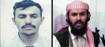 En esta foto de archivo, la reproducción de una combinación de dos imágenes de un presunto jefe militar de la red al-Qaeda en Yemen, identificado como Qasem al-Rimi, muestra al activista en un documento del Ministerio del Interior de Yemen. en dos imágenes diferentes sin fecha (MINISTERIO DE INTERIOR YEMENI / AFP)