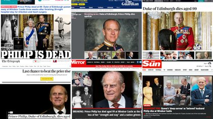 Los medios británicos anunciaron la muerte del Príncipe Felipe, Duque de Edimburgo (Infobae)