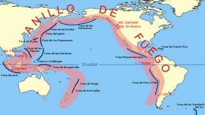 El Anillo de Fuego es una enorme extensión costera alrededor del océano Pacífico.