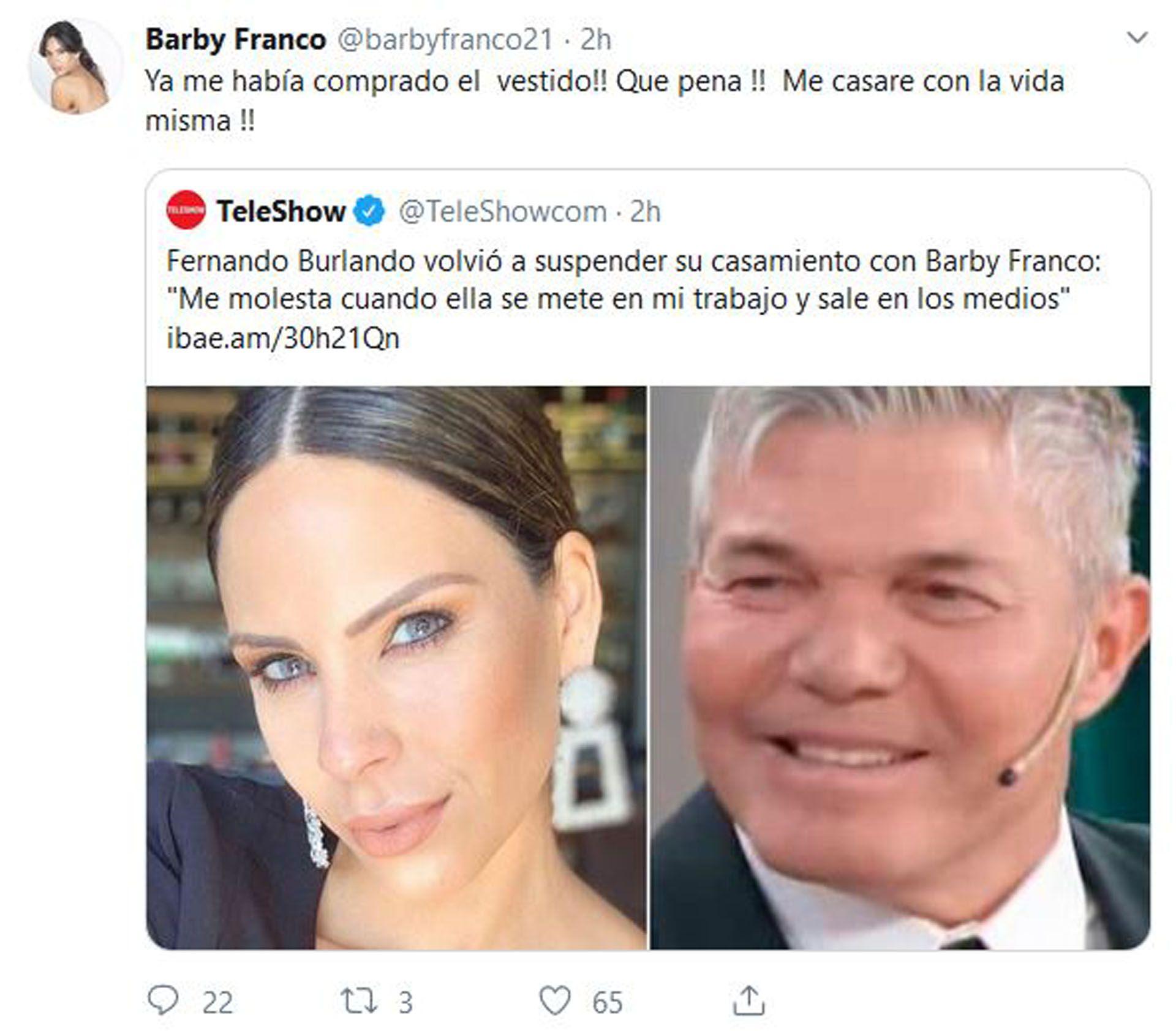El mensaje de Barby Franco tras las declaraciones de Fernando Burlando (Foto: Twitter)